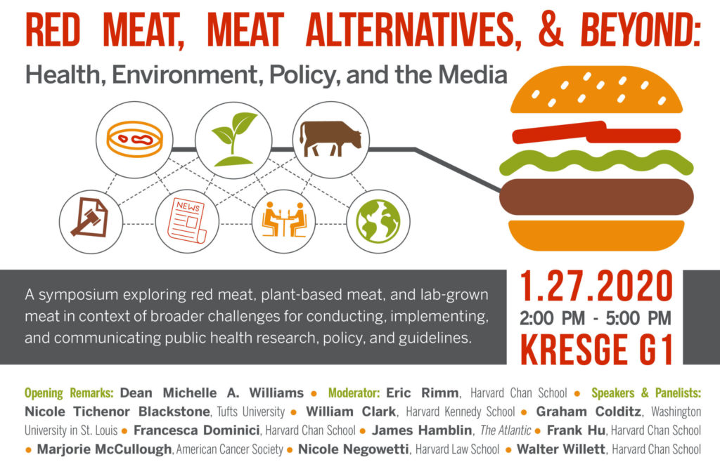 Red Meat, Meat Alternatives and beyond: health, environment, policy, and the media. A symposium exploring red meat, plant-based meat, and lab-grown meat in context of broader challenges for conducting, implementing, and communicating public health research, policy, and guidelines. Opening Remarks: Dean Michelle A. Williams ● Moderator: Eric Rimm, Harvard Chan School ● Speakers & Panelists: Nicole Tichenor Blackstone, Tufts University ● William Clark, Harvard Kennedy School ● Graham Colditz, Washington University in St. Louis ● Francesca Dominici, Harvard Chan School ● James Hamblin, The Atlantic ● Frank Hu, Harvard Chan School ● Marjorie McCullough, American Cancer Society ● Nicole Negowetti, Harvard Law School ● Walter Willett, Harvard Chan School.