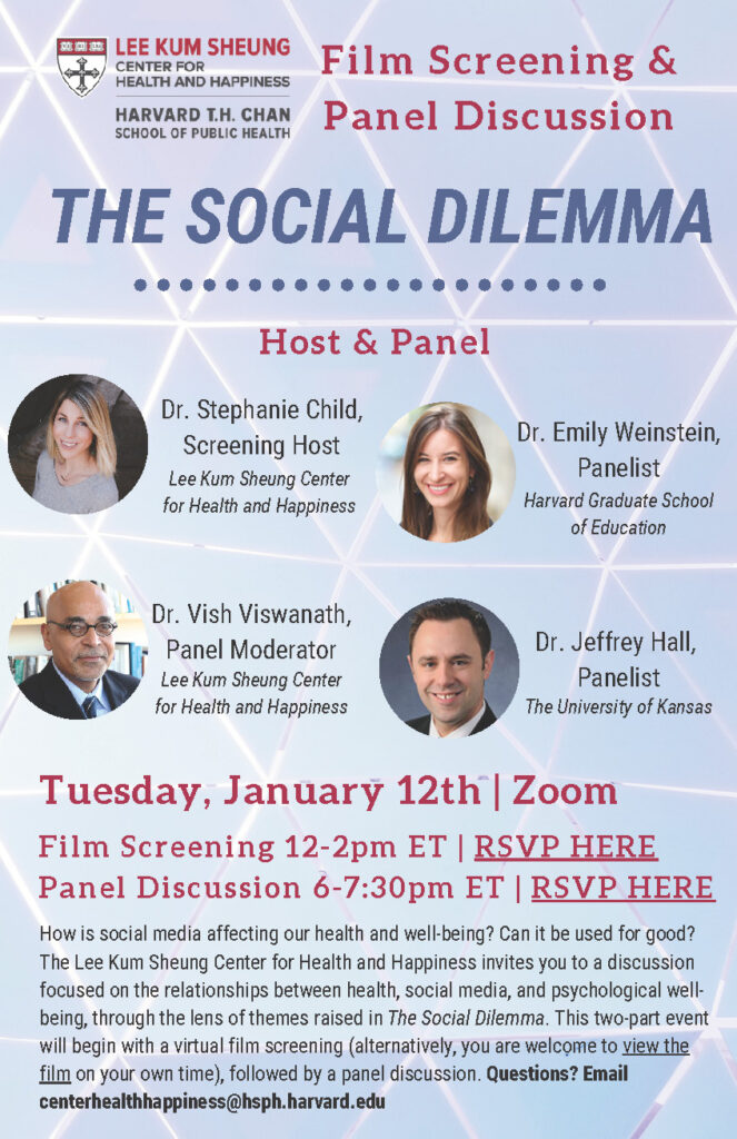 """Informational flyer for """"The Social Dilemma"""" film screening and panel discussion on Tuesday, January 12, 2021"""