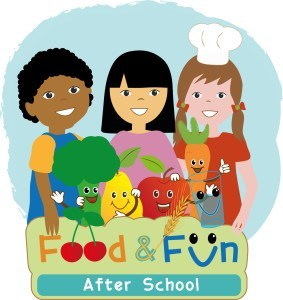 Food and Fun After School logo, showing cartoon of three kids and smiling vegetables