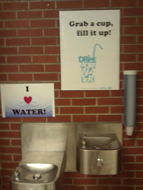 Grab a cup, fill it up promotional posters hanging above water fountains