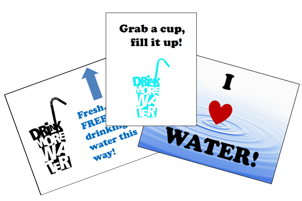 Grab a cup, fill it up promotional posters