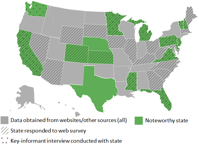 Graphic depicting US map where noteworthy states are defined