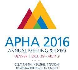 American Public Health Association Annual Meeting - 2016 logo: Creating the Healthiest Nation: Ensuring the Right to Health