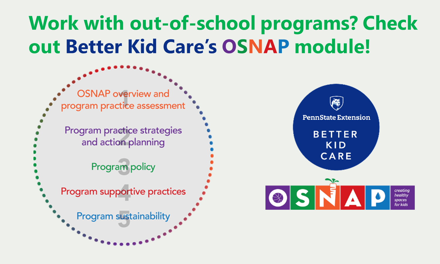 Work with out-of-school programs? Check out Better Kid Care's OSNAP module! The steps include: 1) OSNAP overview and program practice assessment; 2) program practice strategies and action planning; 3) program policy; 4) program supportive practices; 5) program sustainability.