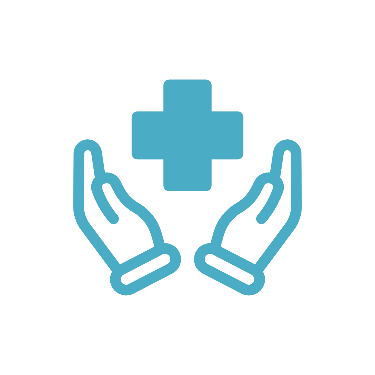 Teal green/blue icon of two hands holding the health care cross