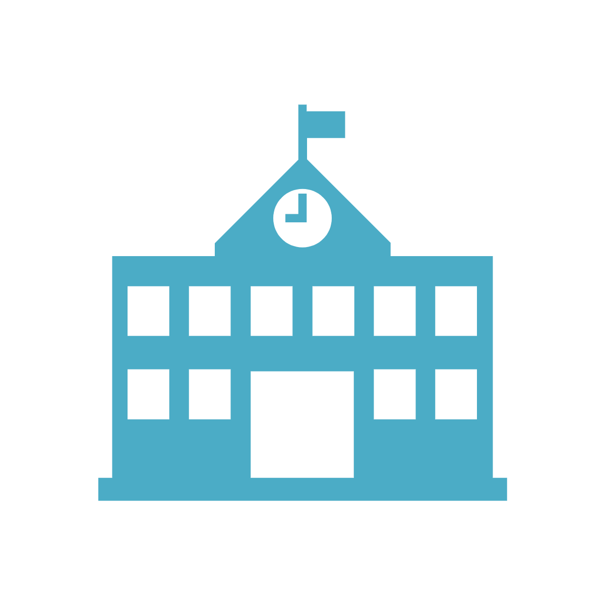 Teal green/blue icon of a schoolhouse