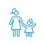 Teal green/blue icon of a mother and daughter holding hands