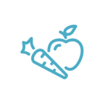Teal green/blue fruits and vegetable icon